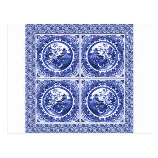 Azul y blanco, diseño del modelo del sauce postal