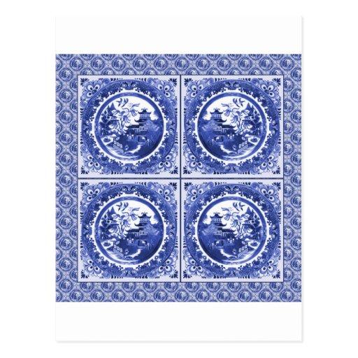 Azul y blanco, diseño del modelo del sauce tarjeta postal
