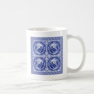Azul y blanco, diseño del modelo del sauce taza de café