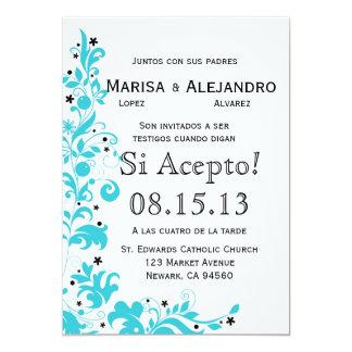 Azul Y Blanco Invitacion de Boda en español Card