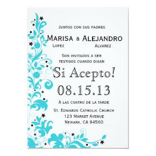 azul y blanco invitacion de boda en espaol invitation
