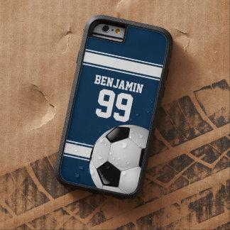 Azul y blanco raya el balón de fútbol del jersey funda para  iPhone 6 tough xtreme