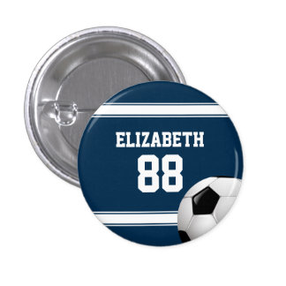 Azul y blanco raya el balón de fútbol del jersey pin redondo 2,5 cm