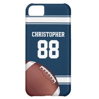 Azul y blanco raya fútbol del hierro de la rejilla funda para iPhone 5C