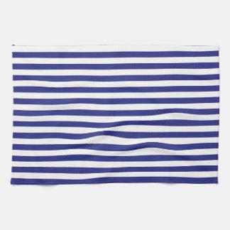 Azul y blanco raya la toalla de cocina