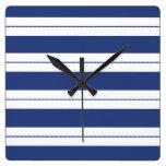 Azul y blanco rayados relojes de pared