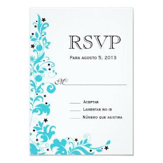 Azul Y Blanco Rsvp Tarjeta Card
