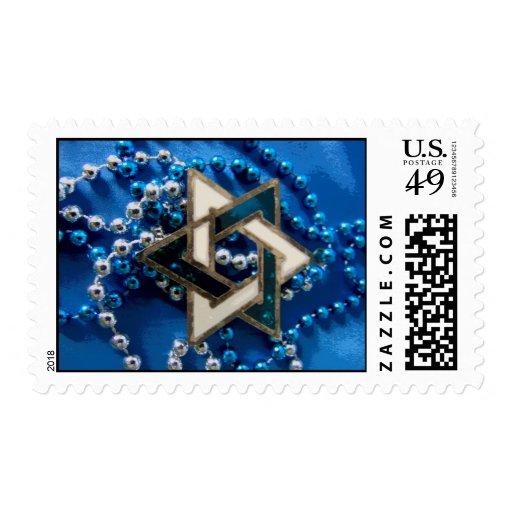 Azul y blanco sello postal