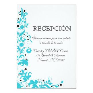"""Azul Y Blanco Tarjeta de recepcion Invitación 3.5"""" X 5"""""""