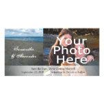 Azul y boda de playa del ~ de las arenas de Brown Tarjeta Fotografica Personalizada