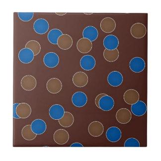 Azul y bolas de Brown Azulejo Cuadrado Pequeño