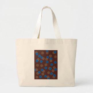 Azul y bolas de Brown Bolsa Tela Grande