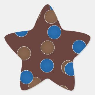 Azul y bolas de Brown Pegatina En Forma De Estrella