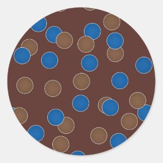 Azul y bolas de Brown Pegatina Redonda