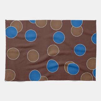 Azul y bolas de Brown Toallas De Mano