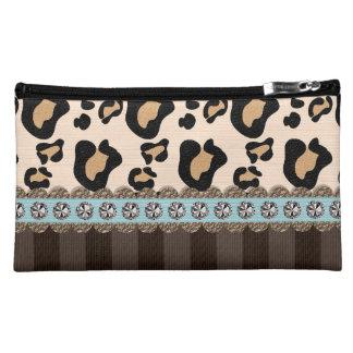 Azul y bolso del cosmético del estampado leopardo