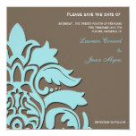 Azul y Brown - ahorre las tarjetas de fecha Invitación 13,3 Cm X 13,3cm