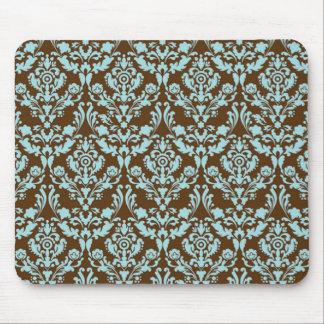 Azul y Brown del damasco Mousepad