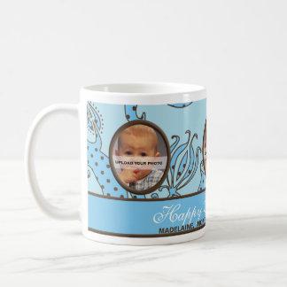 Azul y Brown personalizados de la taza de la foto