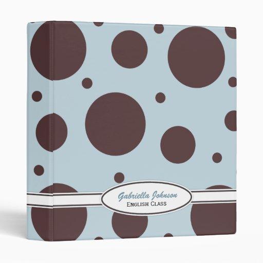 Azul y carpeta personalizados del lunar de Brown
