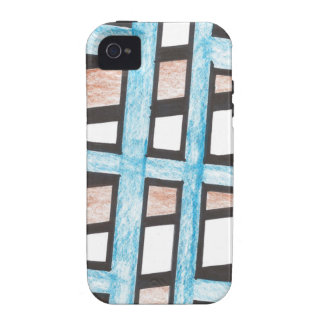 Azul y caso del iPhone 4 de los bloques de Brown Vibe iPhone 4 Carcasas