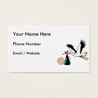 Azul y cigüeña del bebé tarjetas de visita