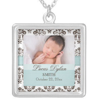 Azul y collar de la foto del bebé del damasco de B