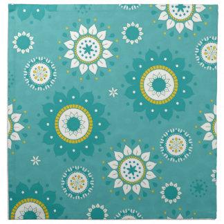 Azul y crema modelados florales de la dalia servilleta de papel