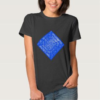 Azul y diamante abigarrado blanco remera
