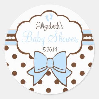 Azul y ducha del Punto-Bebé de la polca de Brown Pegatina Redonda