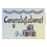 Azul y enhorabuena del bebé de los juguetes de tarjeta de felicitación
