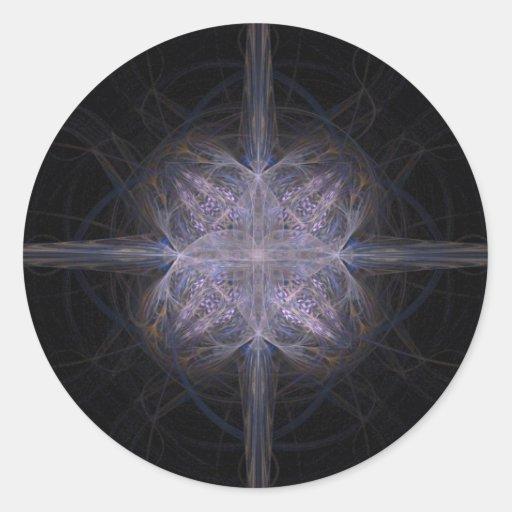 Azul y estrella abigarrada oro del arte del pegatina redonda