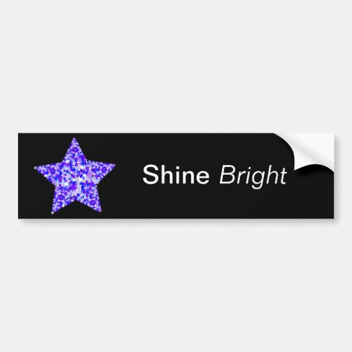 Azul y estrella púrpura de estrellas etiqueta de parachoque