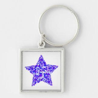 Azul y estrella púrpura de estrellas llavero personalizado