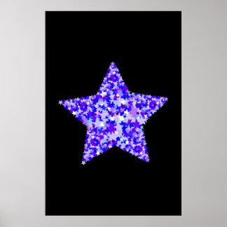 Azul y estrella púrpura de estrellas posters