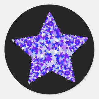 Azul y estrella púrpura de estrellas pegatina redonda