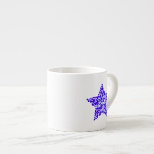 Azul y estrella púrpura de estrellas taza espresso