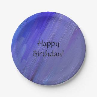 Azul y fiesta púrpura plato de papel de 7 pulgadas