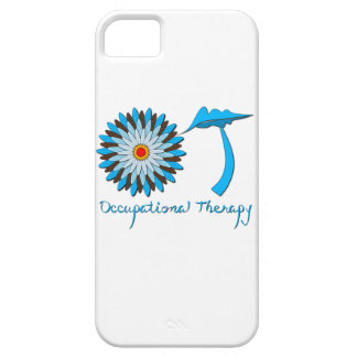 Azul y flower power de Brown Funda Para iPhone 5 Barely There