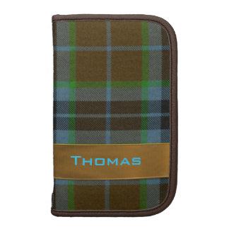 Azul y folio de la tela escocesa de tartán de Brow Planificador
