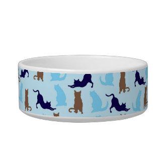 Azul y gatos de Brown Tazón Para Gato
