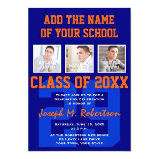 """Azul y graduación anaranjada del atleta de la invitación 5"""" x 7"""""""