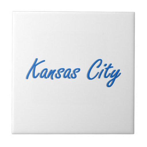 Azul y gris de Kansas City Azulejo