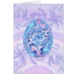 Azul y huevo pintado púrpura tarjeta de felicitación