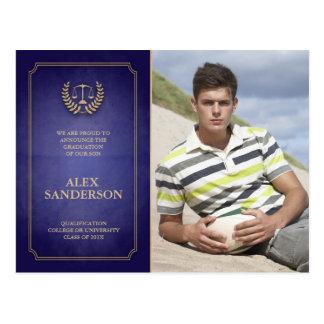 Azul y invitación de la graduación del colegio de tarjetas postales