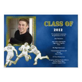 Azul y invitación de la graduación del fútbol del invitación 12,7 x 17,8 cm