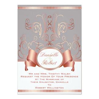 Azul y invitaciones color de rosa del boda del anuncio