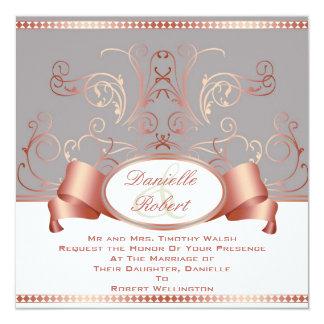 Azul y invitaciones color de rosa del boda del anuncio personalizado