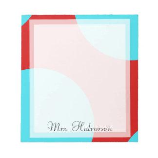 Azul y libreta roja del profesor de los círculos d bloc de notas