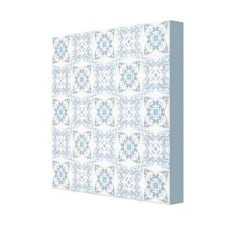 Azul y lona modelada blanco impresiones de lienzo